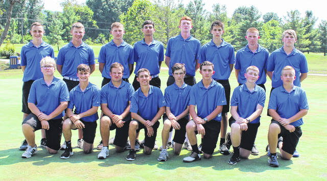 Pictured are members of the 2021 Gallia Academy Blue Devils varsity boys golf team. Kneeling in front, from left, are Aiden Toler, Dalton Mershon, William Hendrickson, Cody Bowman, Gavin Long, Abraham Dixon, Mason Washington and Nathanael Baird. Standing in back are Evan Pope, Hunter Cook, Beau Johnson, Laith Hamid, Kael O' Brien, Silas Patterson, Carson Call and Josh Brumfield.