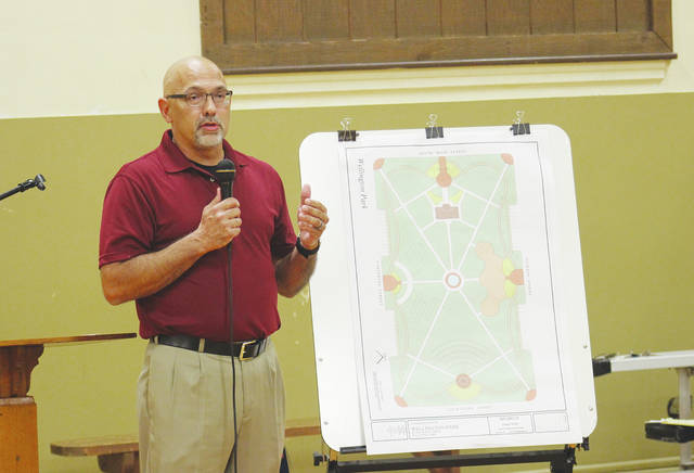 """Mayor Hans Schneider goes over plans Sept. 21 for a new """"passive park"""" at the old McCormick Middle School property and details of next year's bicentennial celebration."""