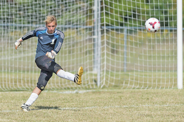 Wellington keeper Stephen Del Campo sends a goal kick out of the box against Keystone.