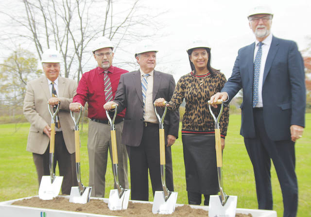 Ground is broken in a Nov. 2 ceremony for a new Mercy Health center in Wellington. Pictured are Steve Ross of Ross Builders; mayor Hans Schneider; Mercy Lorain region CEO Ed Oley; family doctor Saadia Hussain; and Mercy Health Allen Hospital president Ed Ruth.