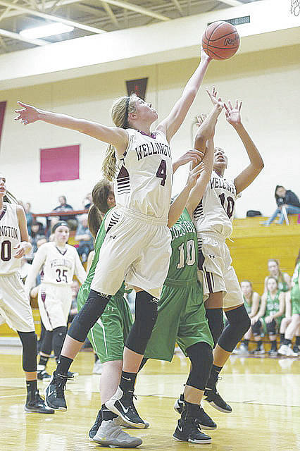 Alexis Lehmkuhl grabs a rebound last season against Columbia. She and the Dukes will look to improve on last year's 15-9 record and sectional final playoff loss to Lutheran West.