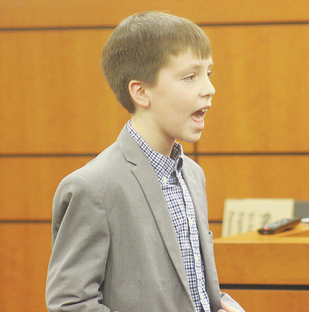 Fifth-grader Jonah Stump makes his opening statements to jurors Dec. 8 in this year's Lorain County mock trial in Elyria.