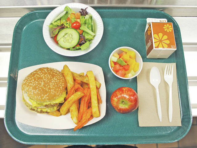 <p style=&quot;text-align: center;&quot;><strong>Steele High School, Amherst</strong> <p style=&quot;text-align: center;&quot;>Double cheeseburger, potato and sweet potato fries, apple, mixed fruit cup, salad, and chocolate milk.
