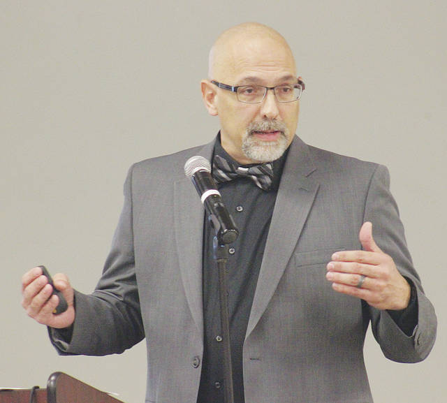 Mayor Hans Schneider gives his State of Wellington address March 22 at Eagles Aerie 2051.