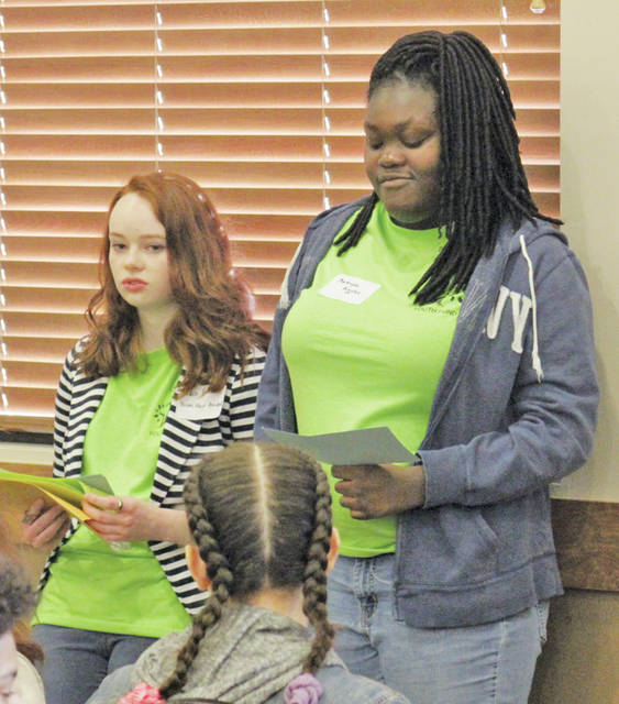 Grace Broome of Wellington High School and Makayla Riggins of Oberlin High School lead a student discussion group March 24 during the second annual Youth Summit presented by the Community Foundation of Lorain County.