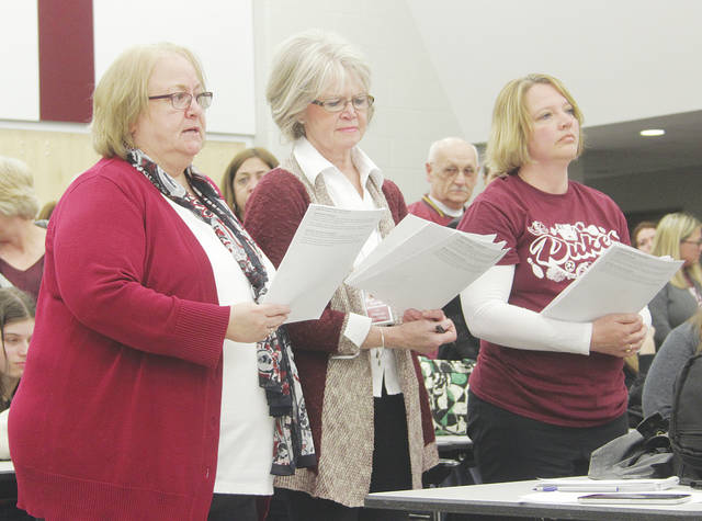 Wellington education union presidents Karen Wright, Anne Petersen, and Brenda Bosley inform the school board Tuesday they've taken a vote of no-confidence in superintendent Ed Weber.