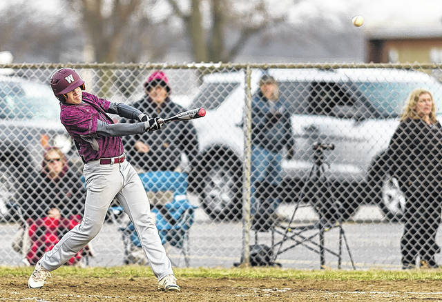 Wellington's Ben Higgens sends the ball to center field for a double at Black River.