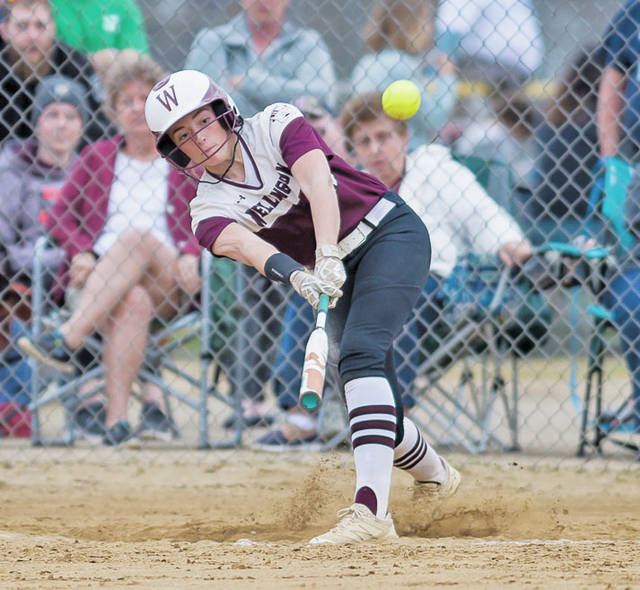 Wellington's Brooklinn Damiano connects for another hit against Keystone.