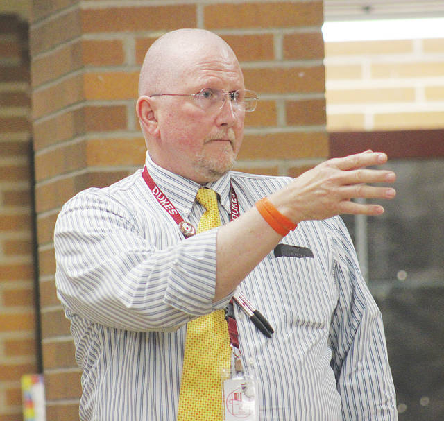 Paul Holland addresses board of education members Tuesday after learning he would not be retained as principal at Westwood Elementary School.