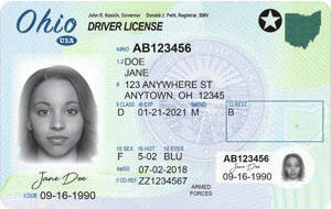 """The new """"compliant"""" Ohio driver's license seen here can be used to access commercial flights, federal buildings, and military bases as appropriate."""