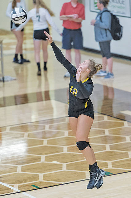 Black River's Megan Owen serves during the Medina County Volleyball Preview.