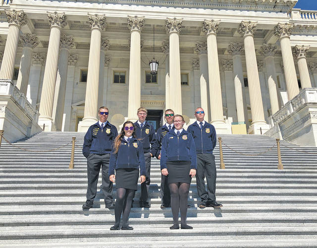 Pictured in Washington, D.C., are students (back row) William Keller, Michael McDonald, Thomas Keller, Aidan Marang, (front row) Sydney Collier, and Savannah Roby.