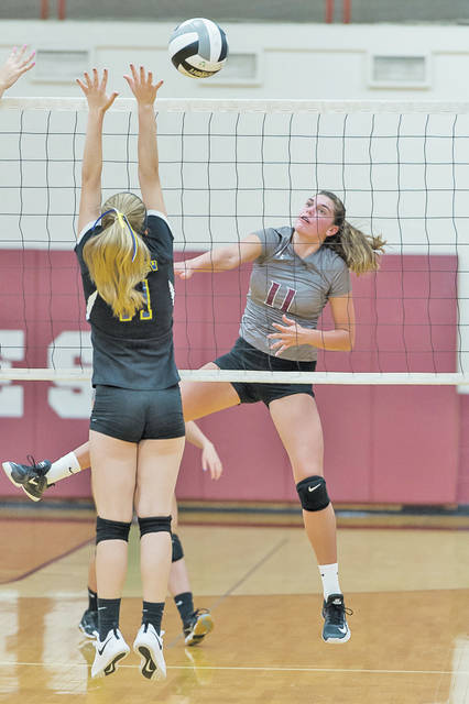 Wellington's Erin Frenk gets the kill against Clearview.
