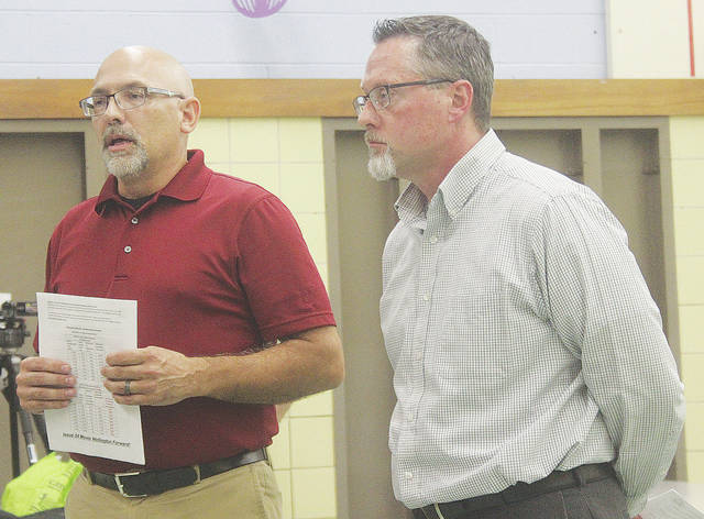 Mayor Hans Schneider and village manager Steve Dupee ask for an endorsement from the Wellington board of education Sept. 18 for a proposed 0.75 percent local income tax increase.