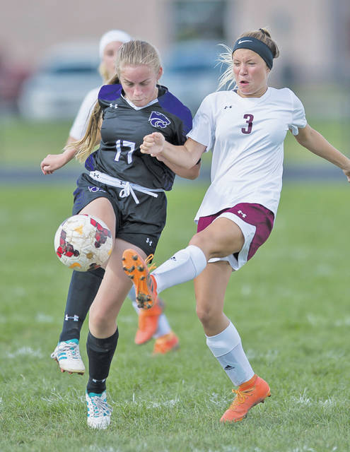 Wellington's Hailey Georgevich knocks the ball away from Keystone's Lilly Ross.