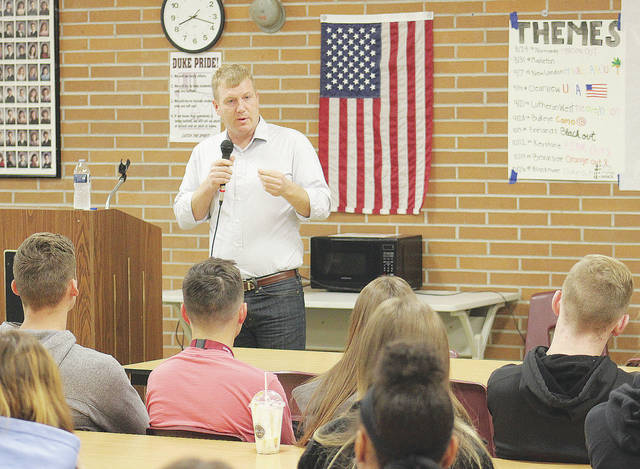 Ken Harbaugh, Democratic candidate for Ohio's Seventh Congressional district seat in the U.S. House, fields questions from Wellington High School students.