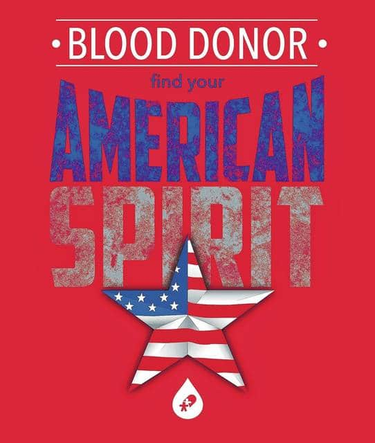 <strong>The Community Blood Center 'Blood Donor – Find Your American Spirit' T-shirt design.</strong>