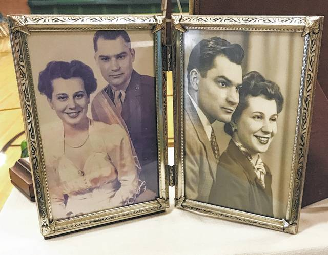 <strong>These photos of Richard Shell and his wife Helen were among the memorabilia from Shell's life on display on tables in the Northmont Middle School gymnasium during a celebration of life reception Saturday.</strong>