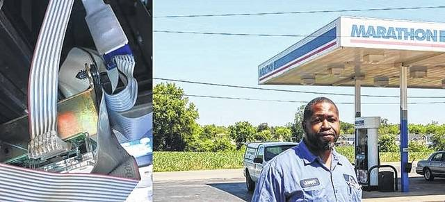 """<p class=""""xmsonormal""""><strong>Left: Picture of skimmer inside of gas pump. Right: Chief Weights and Measures Inspector Joe Harris stands in front of the Marathon station.</strong>"""