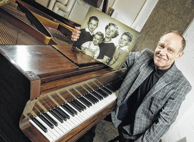 <strong>Steve King, a 1985 graduate of WSU, in the music practice room in the Creative Arts Center named after his mother, Marilee King, who graduated from Wright State in 1969 with a degree in education.</strong>