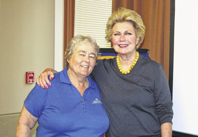 <strong>Shown with Barb Maloney (left) of the Brunner Literacy Center is Rotarian Sandy Williams, sponsor of the program's speaker.</strong>