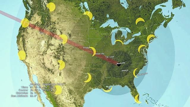 <strong>The map above shows the path of solar eclipse as it traverses North America. Most of Ohio will experience between 75 to 90 percent totality (where the moon will completely cover the sun).</strong>