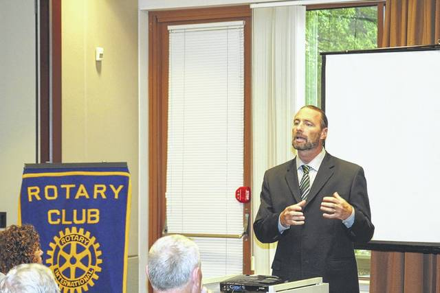 <strong>Northmont Head Football Coach Tony Broering explains the team motto to members of the Northmont Rotary Club.</strong>