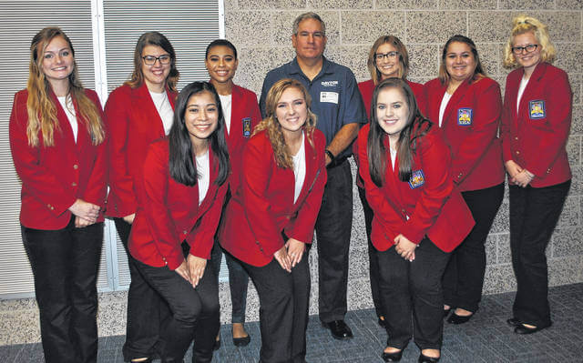 <strong>2017-2018 MVCTC SkillsUSA Chapter 1 Officers with guest Speaker Mark Ewald, Assistant Football Coach for the University of Dayton Flyers. Back row pictured left to right – xxx, Kaylee Hopsecker (Wayne), Sela McCall (Northmont), Mark Ewald (University of Dayton), Kaitlyn Bemis (Valley View), Maddison Morrison (Tippecanoe), Brooklyn Sizemore (Eaton). Front Row left to right – Lupe Arrona (Mississinawa Valley), Emma Tobias (Tri-County North), Carly Newman (Milton-Union).</strong>