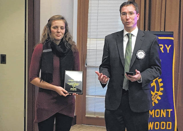 <strong>Emma Bodiker is pictured with Dr. Jason Inkrott, Northmont High School principal.</strong>