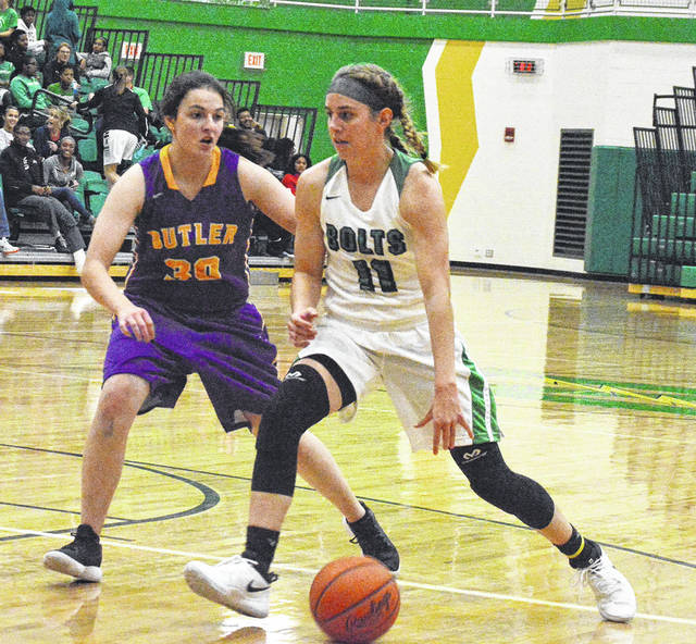 Jenna Hoschouer drives to the basket versus Butler during Northmont's season-opening win on Monday.