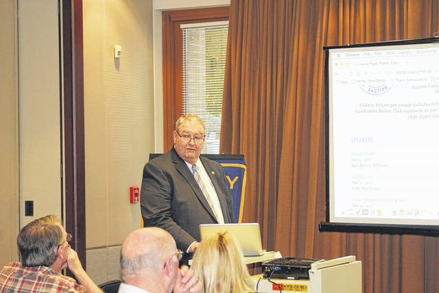 <strong>Northmont Rotary Secretary David Wolfe provided an overview of a new software program being used by the club to Rotary members at the Oct. 31 meeting.</strong>