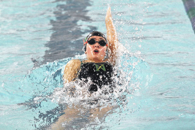<strong>Abby Gutierrez leads off the 200 yard medley relay team.</strong>