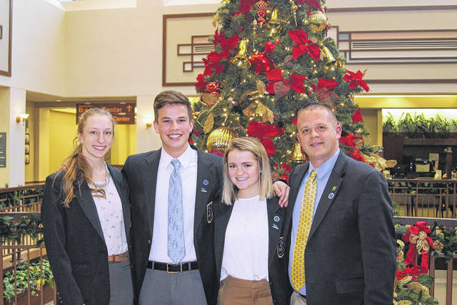 <strong>Northmmont DECA members (left to right) Grace Counts, Ryan Pullins, Meredith Saylor, and Advisor Mr. Eric Wagner.</strong>