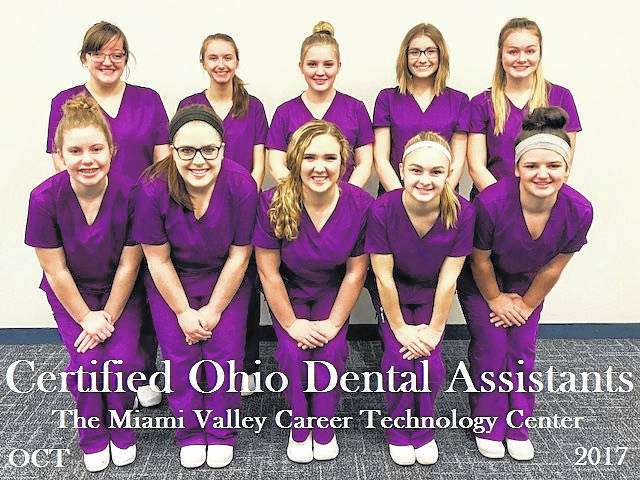 <strong>Ten MVCTC Dental Assistant seniors earned their Commission on Ohio Dental Assistant Certification. Front row Left/Right Audra Kirchhofer (Dixie), Carly Newman (Milton-Union), Emma Tobias (Tri-County North), Brooke Maleski (Tri-County North), Jordan Adams (Preble-Shawnee). Back row, left to right - Roxi Draper (Northmont), Jenna Bridges (Mississinawa Valley), Megan Baker (Dixie), Kaitlyn Bemis (Valley View), and Chloe Baker (Northridge).</strong>