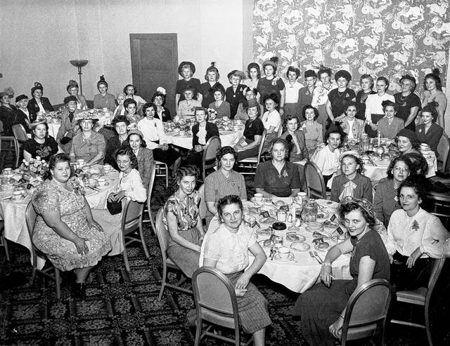 """<strong>Twenty women from Clayton traveled to Cincinnati in 1950 to attend Ruth Lyons' talk show, """"The 50-50 Club."""" Lyons is standing at the left of the back row.</strong>"""