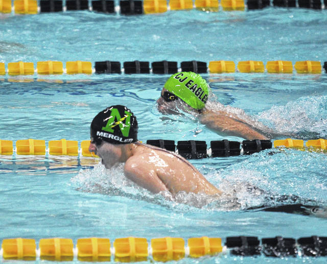 <strong>Jonah Mergler takes second place in the 100 breaststroke at Chaminade-Julienne.</strong>