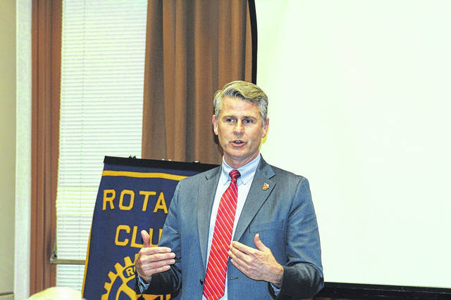 <strong>Bill DeFries, CEO of Copp Integrated Systems and owner of an area Beef O&#8217;Brady&#8217;s, recently addressed the Northmont Rotary Club about security services Copp Integrated Systems offers.</strong>