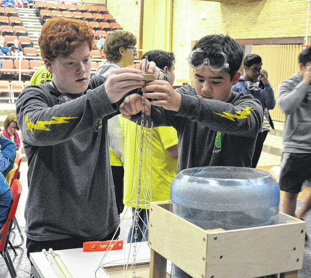 <strong>Ben Loudenslager and Karsten Strobel measure their Tower for competition during the Centerville Science Olympiad Invitational last Saturday. The pair placed third in the event.</strong>