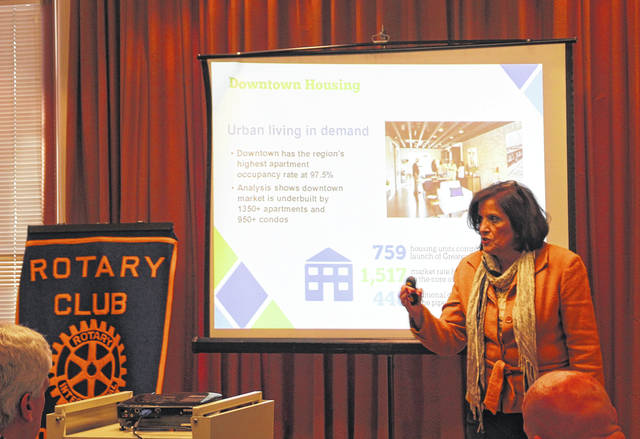 <strong>Downtown Dayton Partnership President Sandy Gudorf discussed strategic planning, business development and marketing services to grow and strengthen downtown during the recent meeting of the Northmont Rotary Club.</strong>
