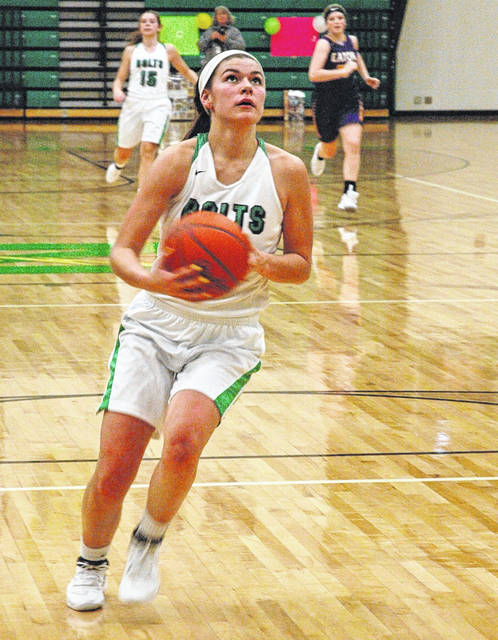 <strong>Anna Mangen drives for a layup after coming up with a second half steal against Eaton.</strong>