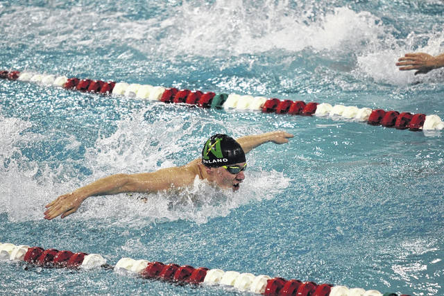 <strong>Justin DeLano placed 17th in the 100 yard butterfly.</strong>
