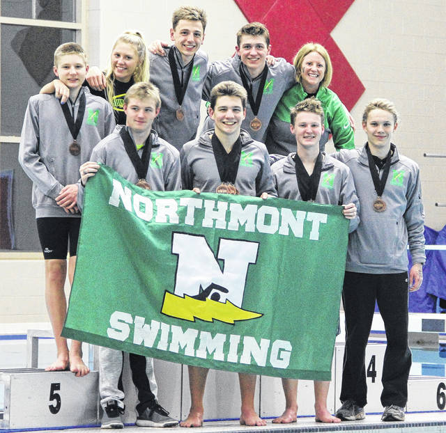 <strong>Northmont&#8217;s medal recipients and coaches, front row, left to right: Justin Parrett, Justin DeLano, Bobby Gaylor, and Josiah English. Second row, left to right: Jonah Mergler, Coach Delaney Schreiber, Eric Woods, Mitchell Asbury, and Coach Maria Schreiber.</strong>