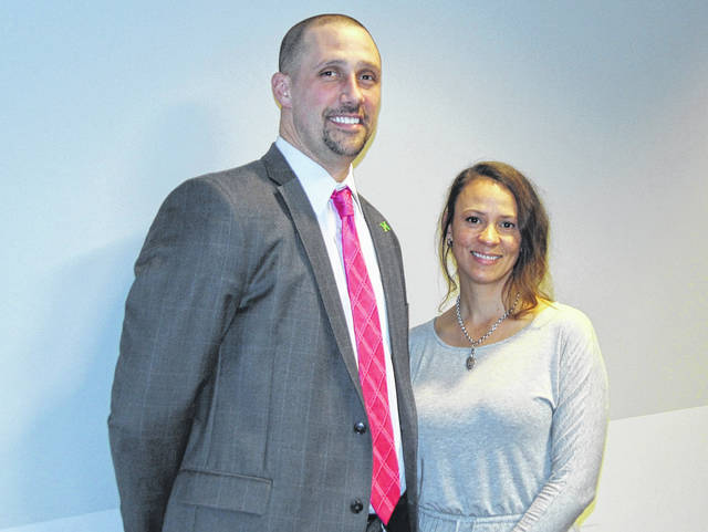 <strong>Tera Spears is pictured with Northmont Middle School Principal Jarrod Brumbaugh.</strong>