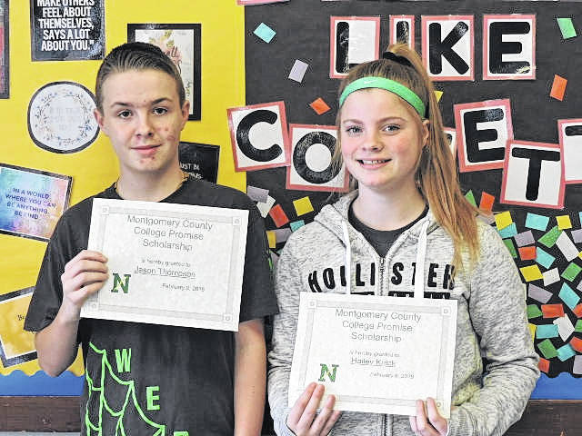 <strong>Jason Thompson and Hailey Knick both received a Montgomery County College Promise Scholarship.</strong>