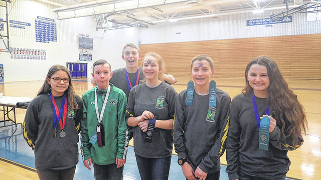 <strong>Northmont Science Olympiad 'Wright Stuff' event winners celebrate their awards. Pictured from left are: Allayna Rose (1st place), Evan Gainey (5th place), Connor Zechar (1st place), Kali Maloney (5th place), Reed Diller (4th place) and Jocelynn Asbra (4th place).</strong>