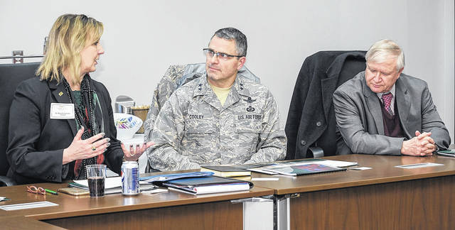 <strong>From left: Wright State President Cheryl B. Schrader; Maj. Gen. William Cooley, commander of the Air Force Research Laboratory; and Jack Blackhurst, executive director of AFRL, during a meeting between Air Force Research Laboratory and university administrators and deans.</strong>
