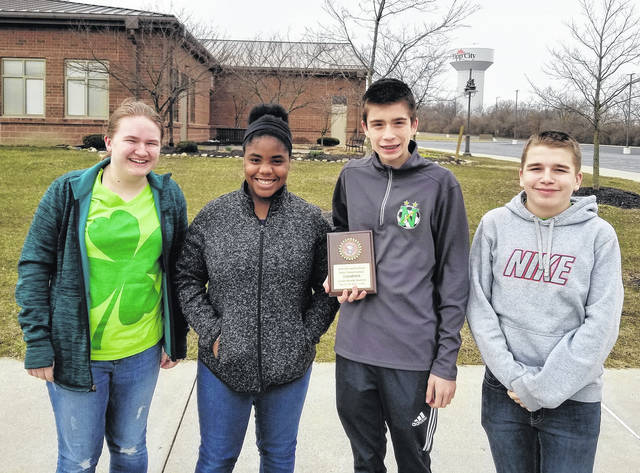 <p class=&quot;xmsonormal&quot;><strong>Northmont&#8217;s Academic Challenge Team, left to right, Samantha Street, Amara Nwanoro, Sean Scranton, and Zach Weeks pose with their Ohio History Bowl championship plaque for the Junior Varsity Division.</strong> <strong>Weeks was the individual bee state champion.</strong>