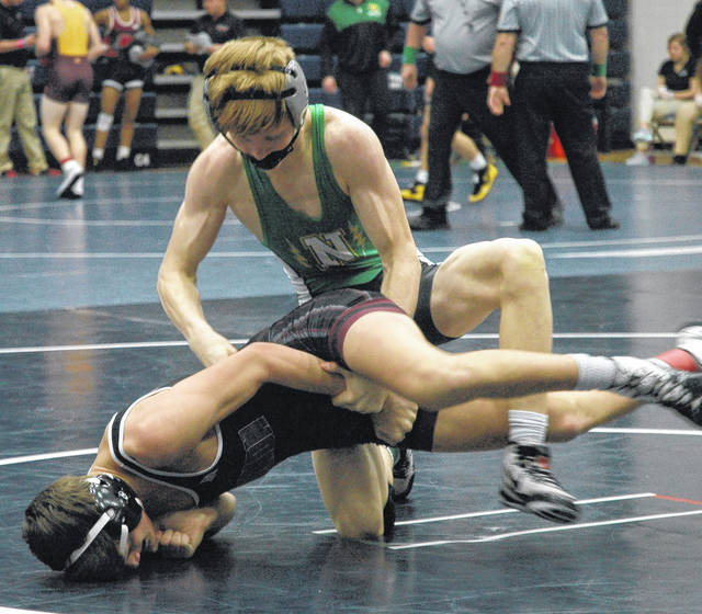 <strong>Andrew Kick scored a 17-0 technical fall over Connar Davis of Lebanon in the opening round of the district tournament.</strong>