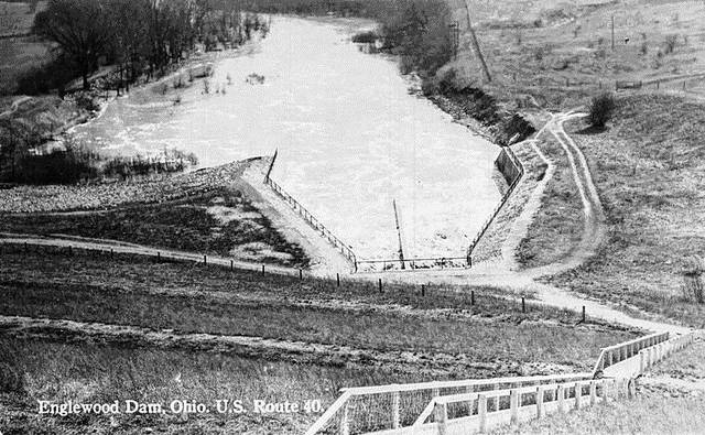 <strong>This photo of the south side of the Englewood Dam was taken in the 1930s. The Morgan Plat, which is located behind Bolts Sports Café between E. Wenger Road and the dam, was constructed to house workers that constructed the dam following the Great Flood of 1913.</strong>