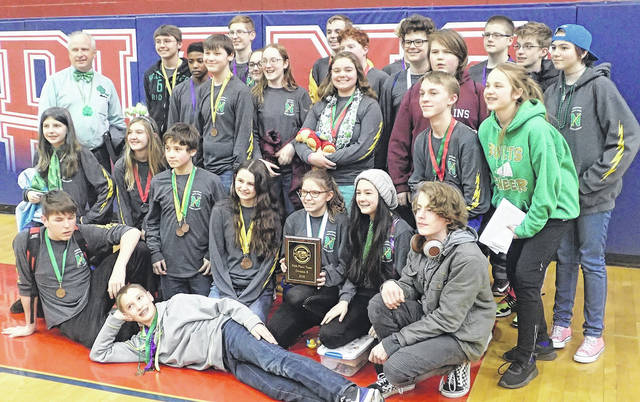 <strong>The Northmont Middle School Science Olympiad team celebrates their win at the Science Olympiad Regional Competition at Piqua High School. The team earned fifth place, sending them to State Competition in April.</strong>